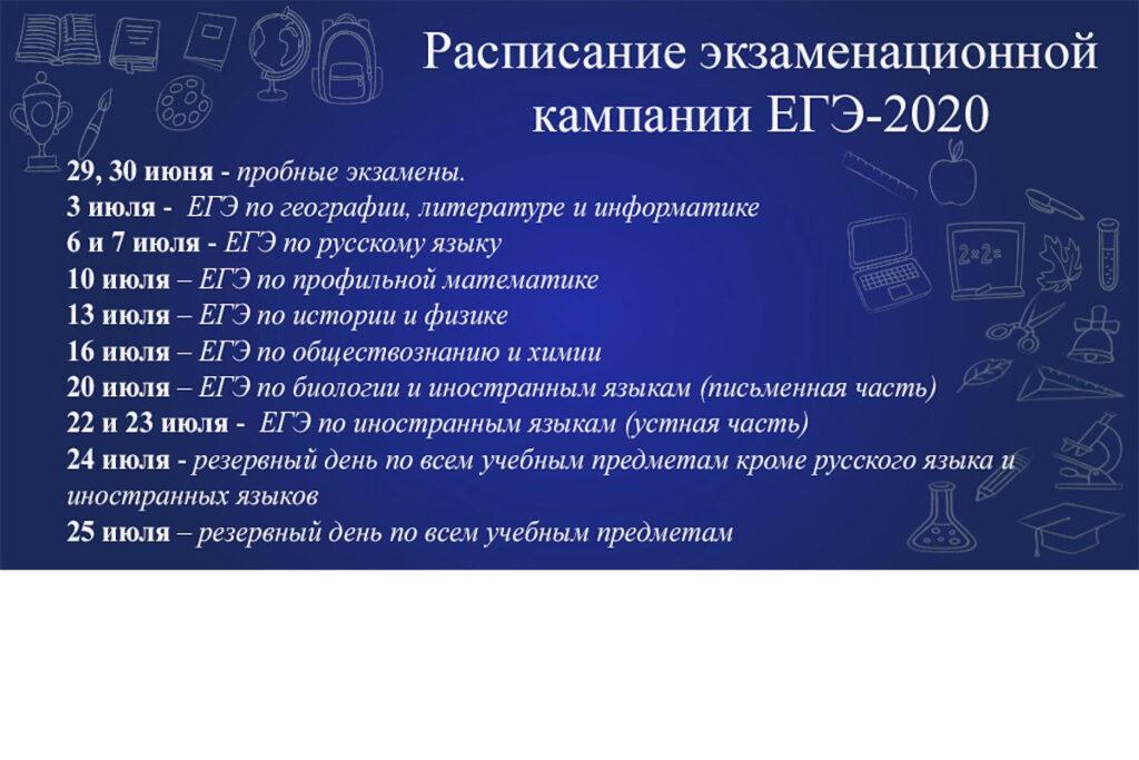 Расписание ЕГЭ - 2020